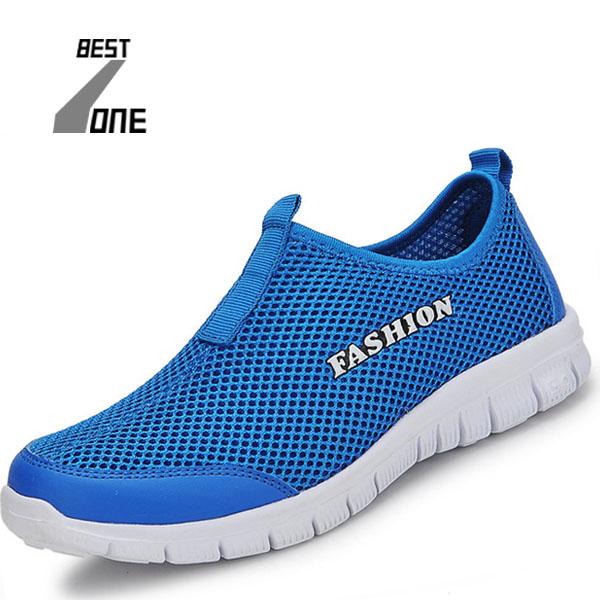 2016 New Men Summer Mesh Shoes Women Slip On Super Cool Sport Water Shoes Walking Comfortable Breathable Men's Shoes plush size