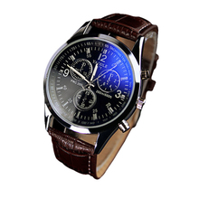 Hot Marketing  Luxury Fashion Faux Leather Mens Blue Ray Glass Quartz Analog Watches Jul22