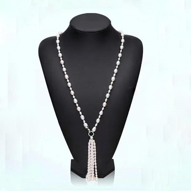 Fashion Long Multilayer Pearl Necklace Freshwater Pearl Tassel Mix Colour Pearl Necklace Jewelry For Women(China (Mainland))