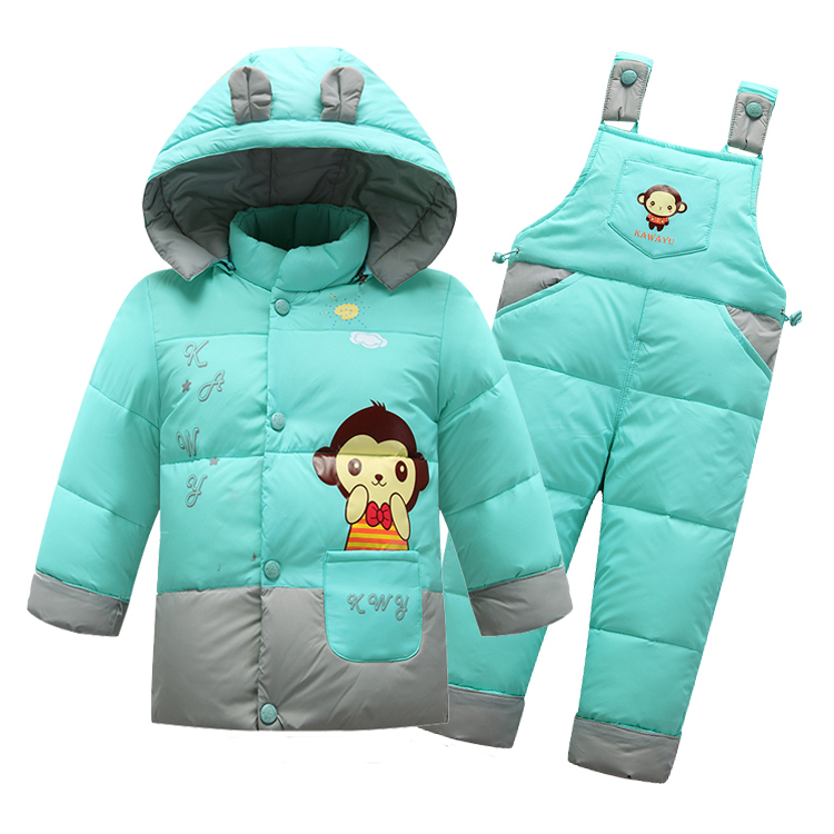 Children's Winter Clothing Sets Boys Girls Cartoon Down Jacket Suits Baby Outwear + Overall Pants 2Pcs Tracksuit Sets(China (Mainland))