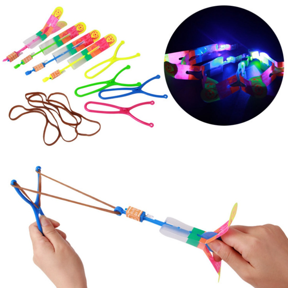 Large LED Light Slingshot Elastic Arrow Rocket Helicopter Flying Toy Party Fun Gift - Color Random(China (Mainland))