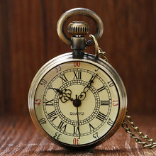Antique Bronze Roman Numerals Dial Pocket Watch Necklace Pendant Mens Gift P96(China (Mainland))