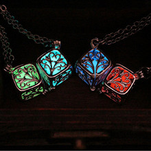 Steampunk Pretty Magic Round Fairy Locket Glow In The Dark Pendant Necklace Gift Glowing Luminous Vintage Necklaces P1176(China (Mainland))