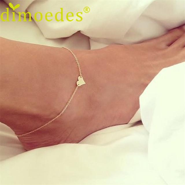Новый бренд браслет де cheville pied 2016 женщин Девушка Моды простое Сердце Лодыжки ...