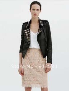 Free shipping TOP-QUALITY Newest designer Europe and America Punk Rivet PU Leather Streetwear /  Biker Jacket