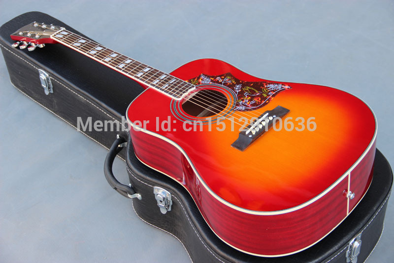 Free shipping 6 string handmade solid top spruce cherry hummingbird acoustic guitar,Free gift(China (Mainland))