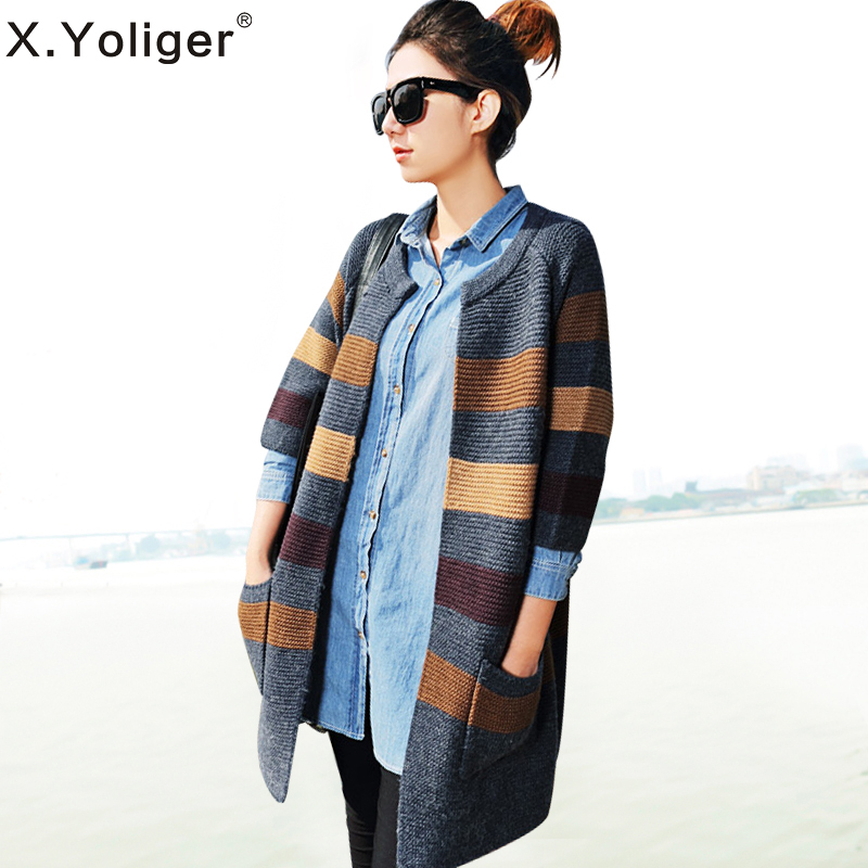 2015 New Autumn Seventh-Sleeve Casual Knitted Sweaters Hit Color stripe Women Knit Cardigan 343086(China (Mainland))
