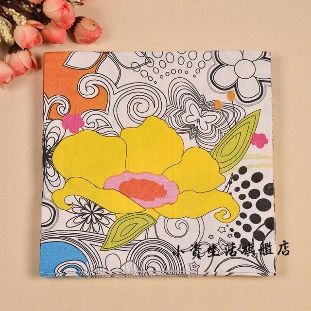 Yellow flowers pattern napkin paper /color tissue paper33x33 cm 20 pcs/pack 7 packs/lot - Better packaging material store
