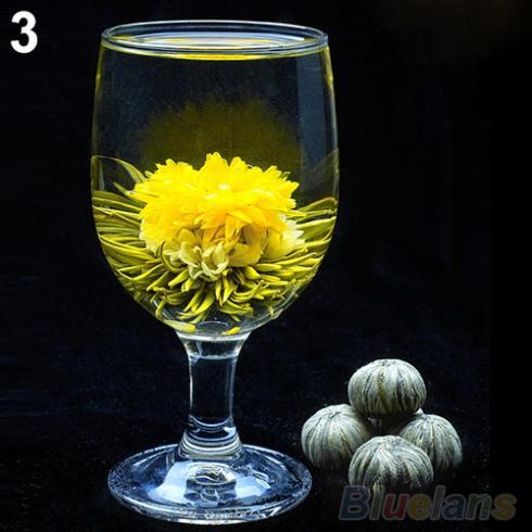 4 Balls Different Handmade Blooming Flower Green Tea Home Wedding Gift 1ON6 1ORU 48FN