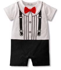 Лето младенцы комбинезоны новорожденных короткая рукавами джентльмен перевязка бант детские комбинезоны мальчики-младенцы одежда