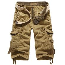 New 2016 brand men's casual loose cargo shorts men large size multi-pocket military short pants overalls 6 colors No Belt K098