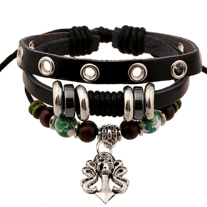 Super Cool Retro Gothic Skull Head Pendant Charm Bracelets Wristband Wrap Black Leather Strap Men Bracelet Enamel Beaded Jewelry - V-jewelry Trade Co.,Ltd store
