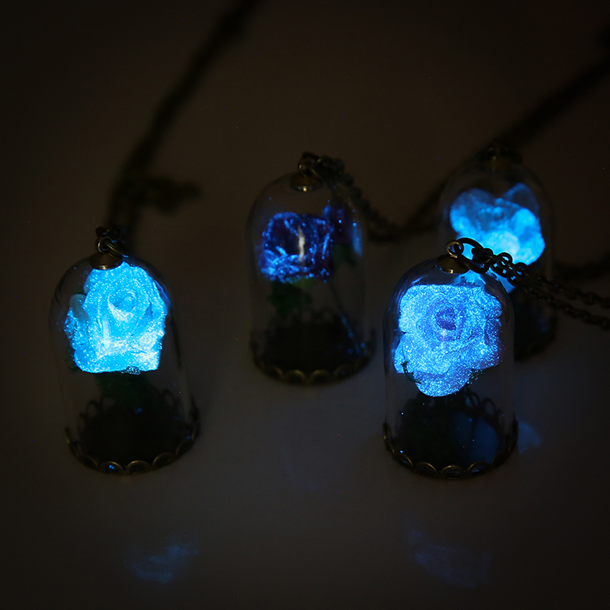 Vintage Glow In The Dark Jewelry Luminous Flower Pendant Necklace Glass Wishing Bottle Chain Long Statement Necklace Jewelry
