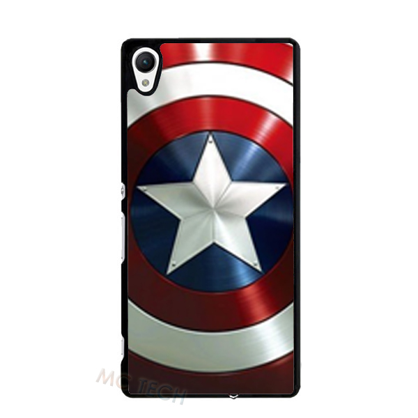 Coque Captain America Cover Case for Sony Xperia Z Z1 Z2 Z3 Z4 Z5 Mini C C3 C4 M2 M4 M5 T2 T3 E4 iPhone 4S 5 5S 5C 6 6S Plus(China (Mainland))