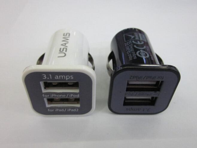Micro Auto Universal Dual 2 Port USB Car Charger For iPhone iPad iPod 3.1A Mini Car Charger Adapter / Cigar Socket Black(China (Mainland))