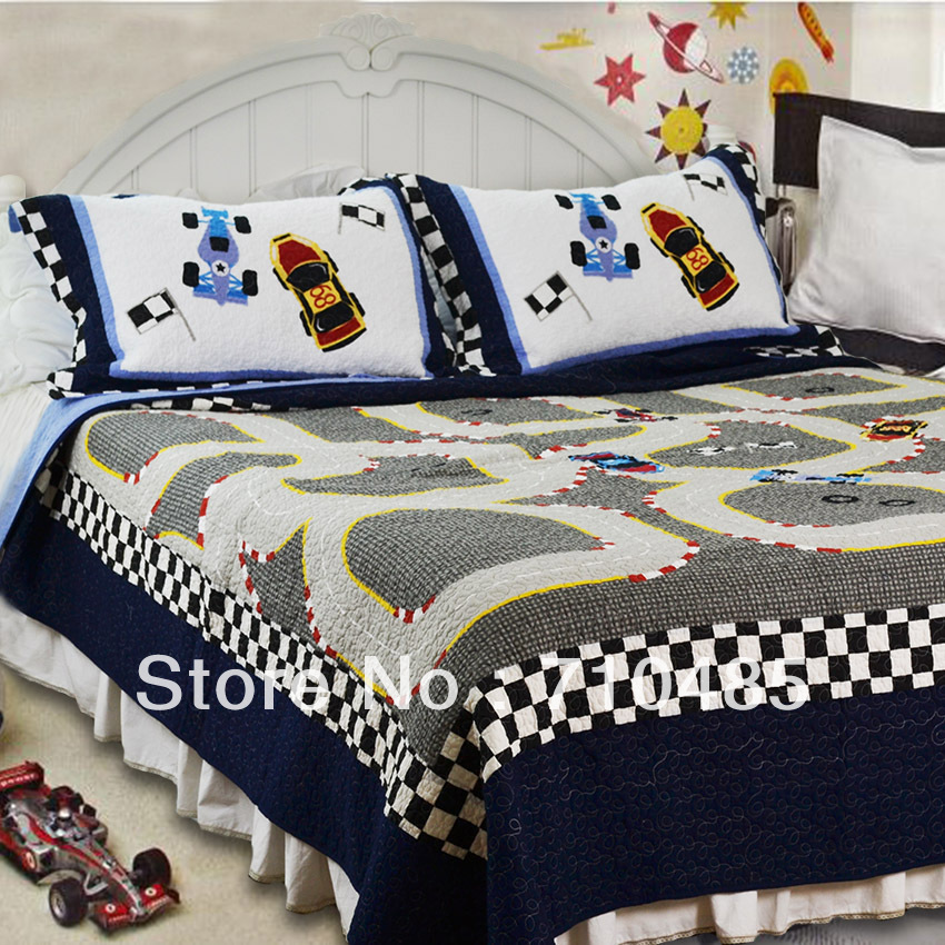 Free Shipping MV Race Car Kids Bedding Set Formula 1 Racing Car Boys Bedding