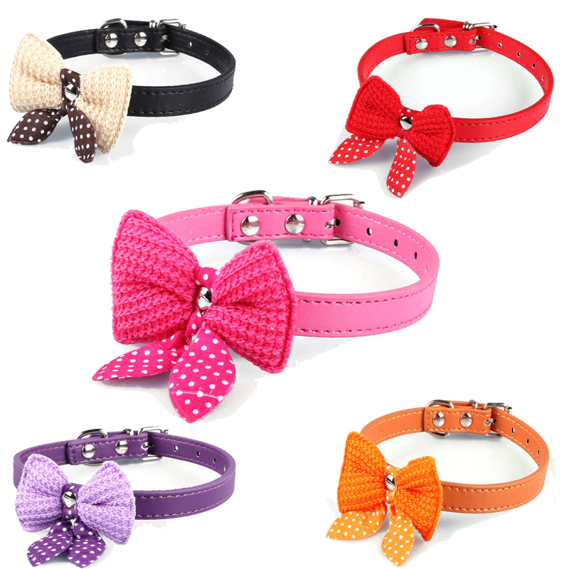 Cute Polka Dots Knit Bowknot Adjustable PU Leather Dog Puppy Pet Collars Necklace XS S M Chihuahua Yorkie Maltese Pomeranian(China (Mainland))