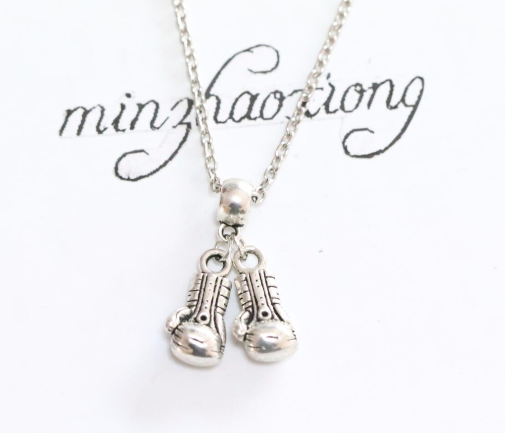 1pcs Men's Jewelry Double Cross Boxing Gloves Pendant Necklace Vintage Antique Silver Charm Choker Necklaces Christmas Gift(China (Mainland))