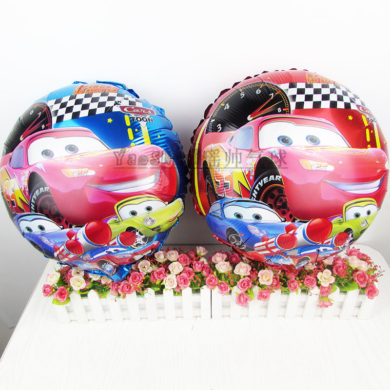 50pcs/lot 18inch round foil Balloons inflatable Cartoon Cars helium balloon toys for kids birthday party decorations air balls(China (Mainland))