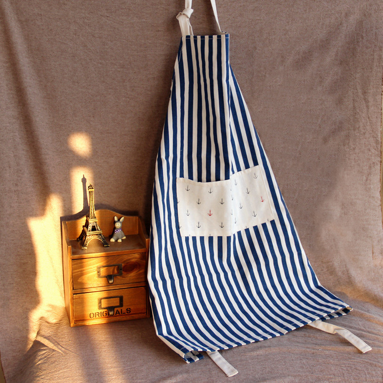cute cotton and linen kitchen apron for woman stripe lace delantal cocina cooking apron 2J139(China (Mainland))