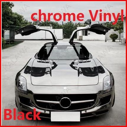 1 pc 1.52*0.5M Black chrome vinyl chrome car wrap electroplate vinyl film chrome car sticker with bubble free FREESHIPPING TTT(China (Mainland))