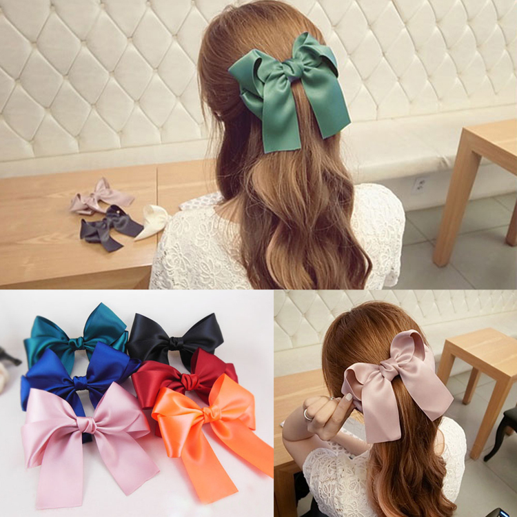 Hot Sale Fashion Womens Multicolor Satin Ribbon Bow Hair Clips Barrette Ponytail Holder 6 Colors Drop Shipping Headwear-0095(China (Mainland))