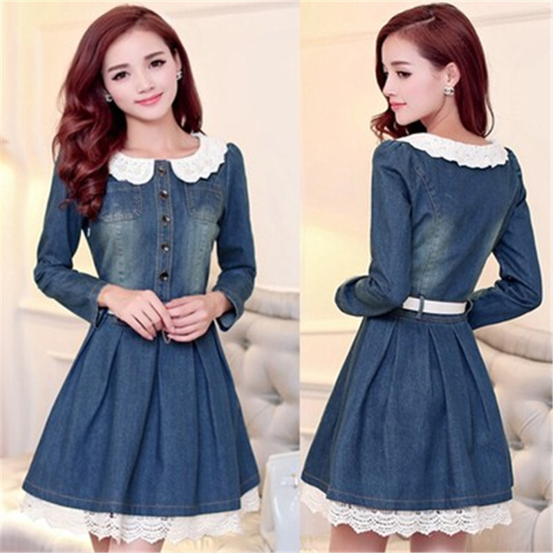 New 2016 Spring Fashion Teenage Girls Denim Dress with Lace Floral Hem Peter-Pan Collar Fall Kids Party Robe for Birthday Club(China (Mainland))