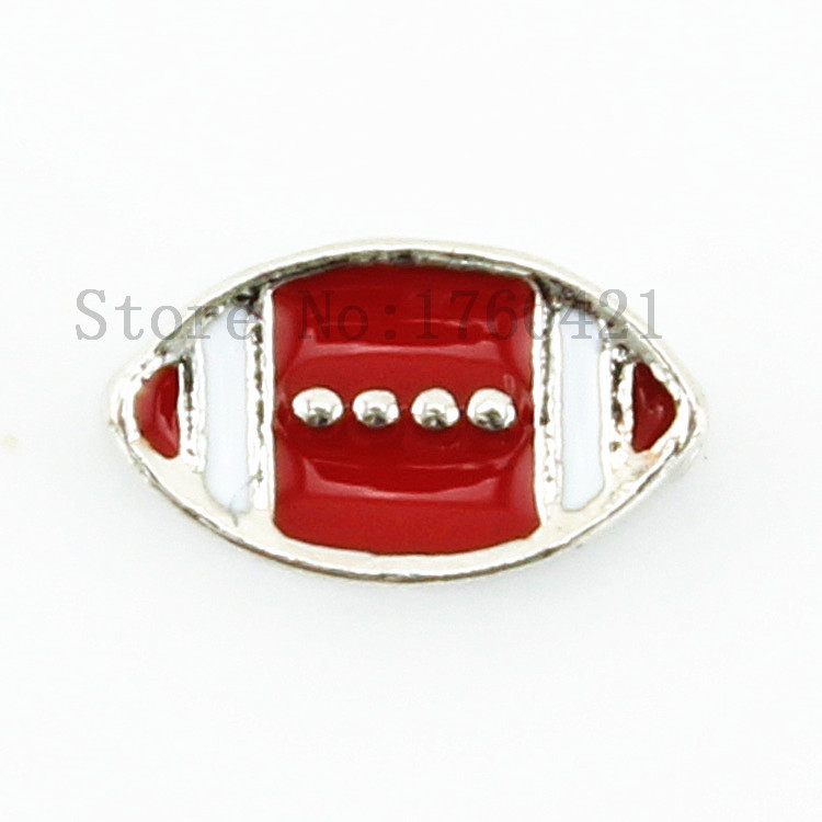 New arrive enamel red football floating charms for floating glass memory locket pendant AFC341(China (Mainland))