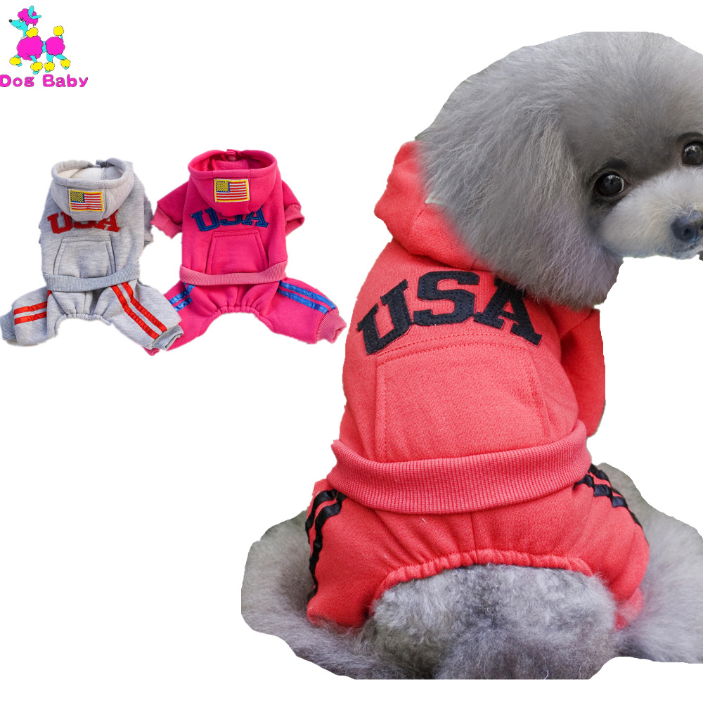 USA Letter Pattern Dogs Coat Four Legs Cotton Pet Hoodies Autumn Winter Leisure Clothes For Puppy Dog Size S M L XL XXL 4 Colors(China (Mainland))