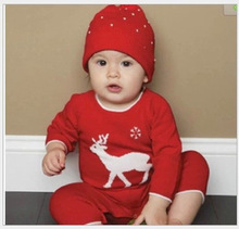 The new spring 2016 men and women baby hat infant jumpsuit baby deer red one-piece clothing baby clothes boy pants coveralls