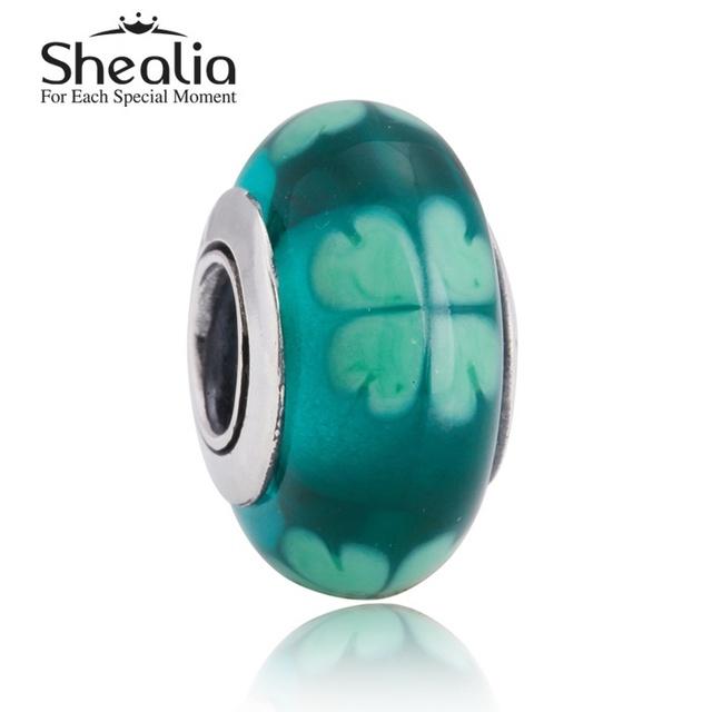 Shealia стерлингового серебра 925 зеленый счастливый клевер муранского стекла подвески бусины для женщин автор браслеты сделай сам ювелирное Ht292
