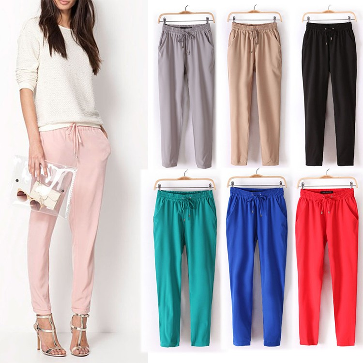 Hot-Sale-New-2014-Brand-Casual-Women-Pants-Solid-Color-Drawstring-Elastic-Waist-Comfy-Full-Length