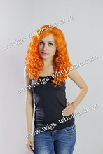 Fashionable Orange Wig Medium Curly Heat Resistant Lace Front Synthetic Wig