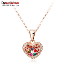 LZeshine Women Accessories Necklace Real 18K Rose Gold Plated Colorful Crystal Heart Pendant Sweater Necklace NL0286-A(China (Mainland))