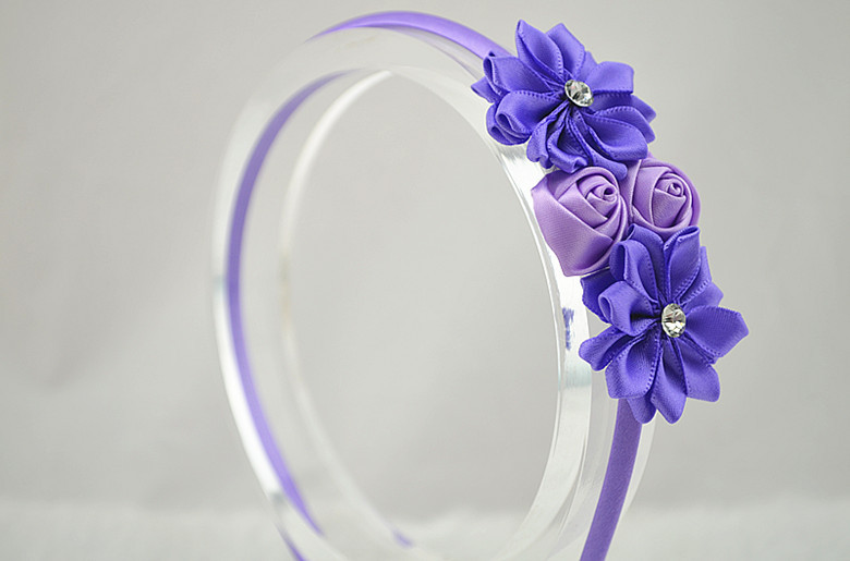 2014 Trail order mini double satin rose with rhinestone button headwear satin ribbon flower hairbands hair accessory 30pcs/lotОдежда и ак�е��уары<br><br><br>Aliexpress
