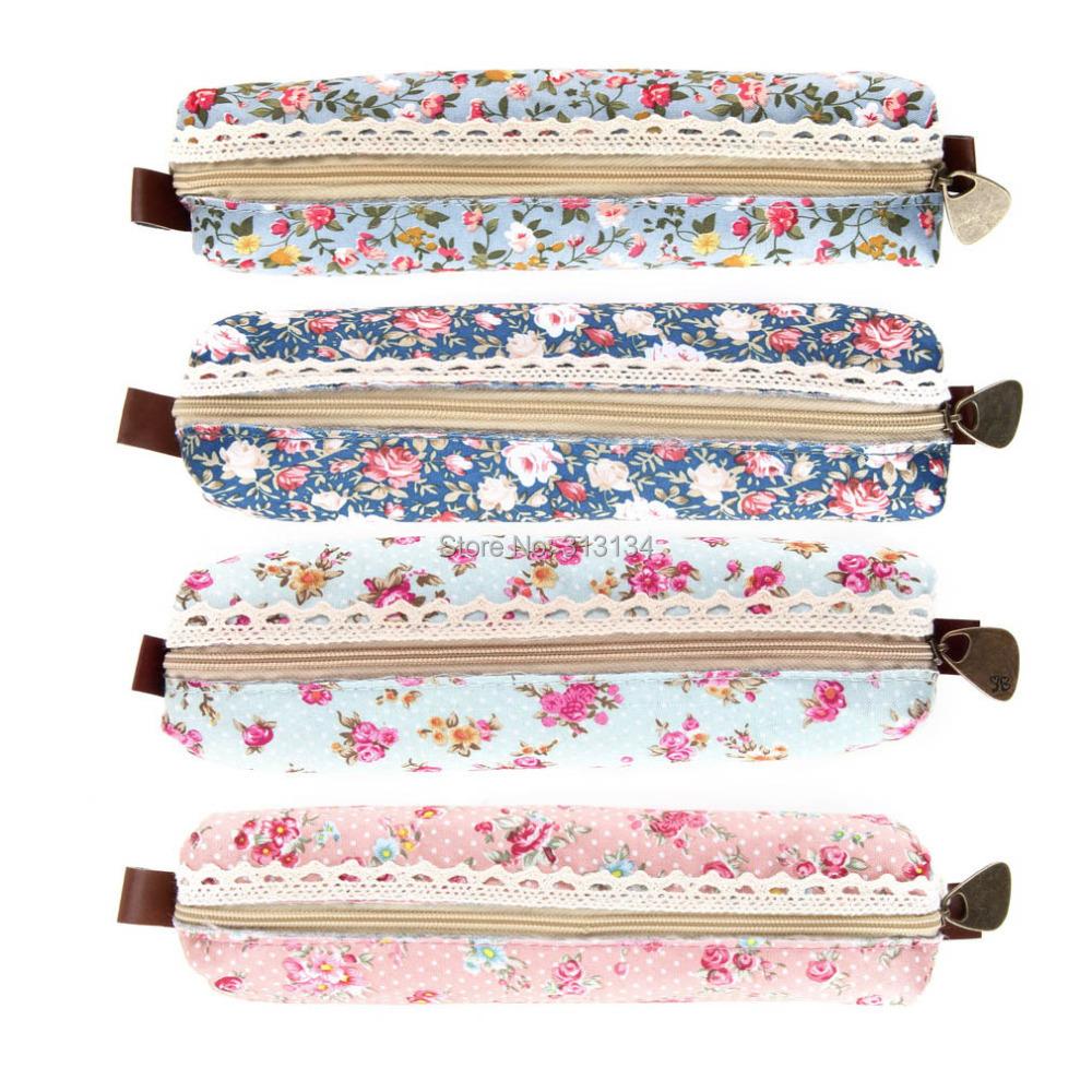 1pc Mini Retro Flower Floral Lace Pencil Case,pencil bag school supplies Cosmetic Makeup Make Up Bag Zipper Pouch Purse(China (Mainland))