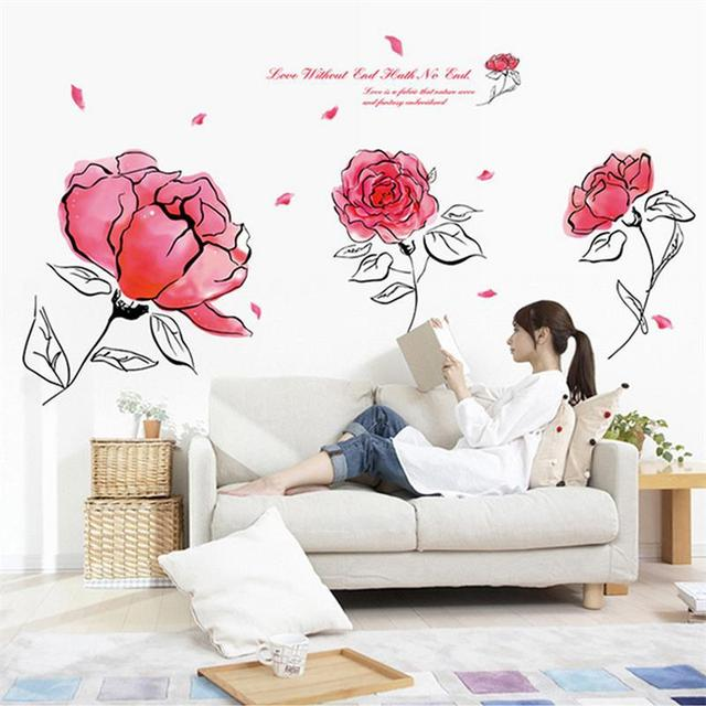 Сделай сам романтический телевизор фоне домашнего декора искусство винил съемный цветок стены пион настенные украшения дома