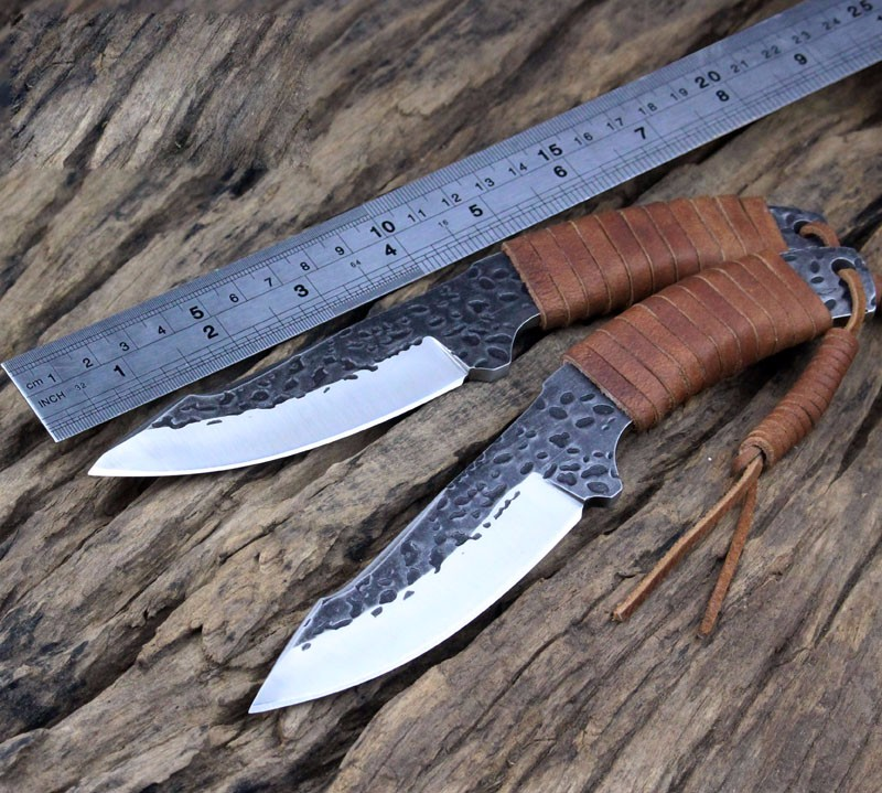 Buy Handmade 9CR18MOV Tactical Knife Fixed Blade Survival Knife Straight Camping Knife Sheaths Leather Handle Brown thickness 0.5 CM cheap