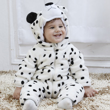 Free shipping Spring  lifelike  Snow Leopard Romper baby clothes show corduroy warm romper 0-1year(China (Mainland))