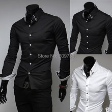 2014 New fashion Mens Shirts Classical Business Slim Fit Stylish Dress Shirts long sleeve 4 Sizes Free Shipping