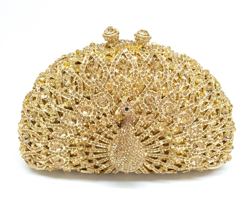 Gold Gliter Animal Shaped Topaz Crystal Evening Clutches Hollow Out Diamond Peacock Handbag Women Party Rhinestones Clutch Purse(China (Mainland))