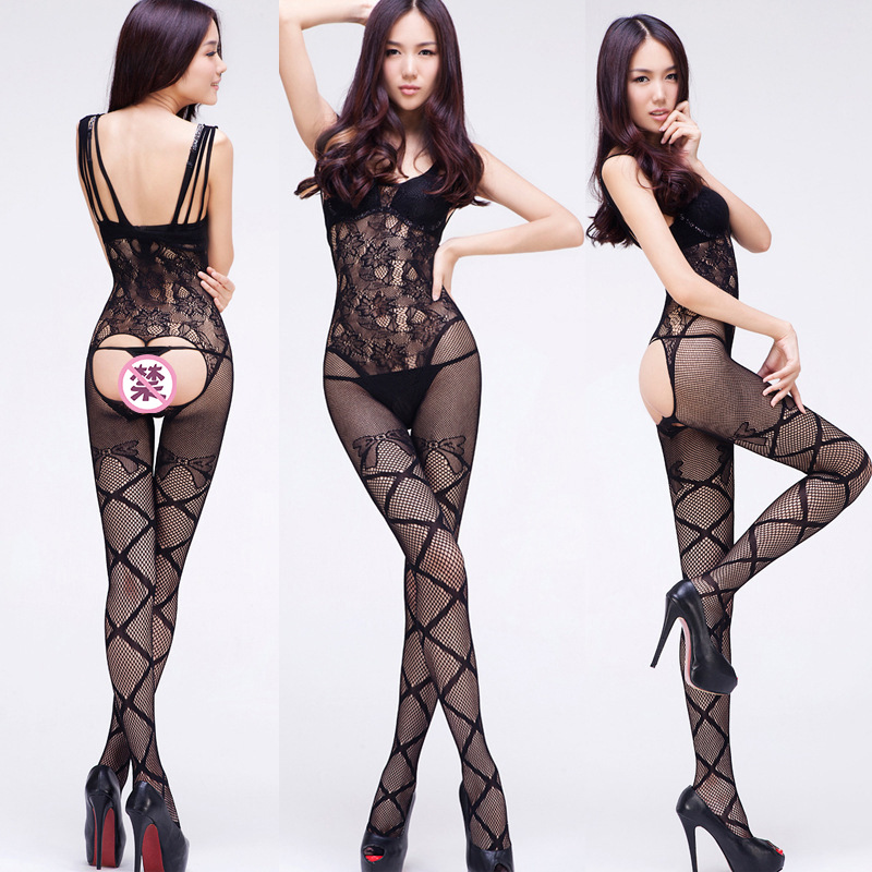Full Body Open Tights Even With Fishnet Stockings Open seat Slips for Women Bodysuit Sexy Erotic