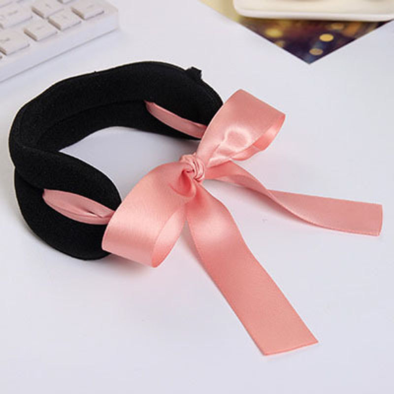 Black Corduroy Ribbon Bows Rope Hair Device Clip Pins for Women Headwear Hair Accessories for Girls(China (Mainland))