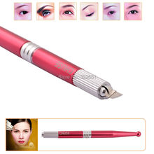 2016 Arrival M5 Red Professional Manual Permanent Makeup Eyebrow Pen Tattoo Machines 50pcs 7-Pin Needle Blades Free Shipping(China (Mainland))