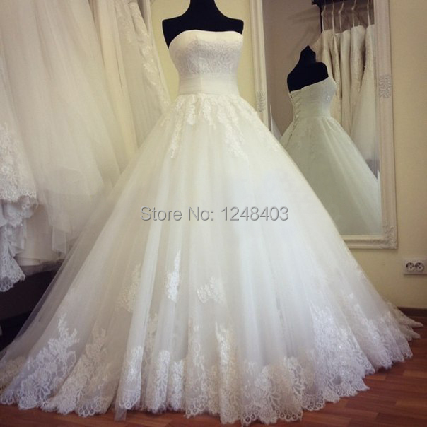 Real Made New Strapless Appliques A-Line Wedding Dresses 2015 Lace Stunning Bridal Gowns Princess Vestido de Noiva Modern - Dream blue wedding dresses store