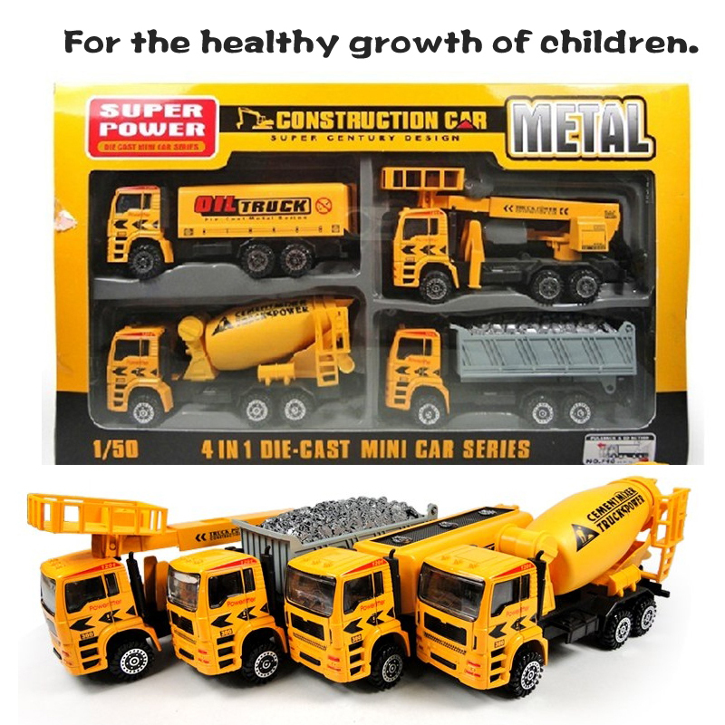 1:50 Pull Back Model Car Excavator Transport Truck Asphalt Stirrer Alloy Toy Cars 4pcs with box Gift for Boys(China (Mainland))