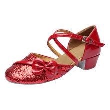 جديد الفتيات حجر الراين اللاتينية الرقص الأحذية كعوب منخفضة لينة وحيد الأطفال الاطفال قاعة التانغو حزب الرقص أحذية تدريب الأبيض(China)