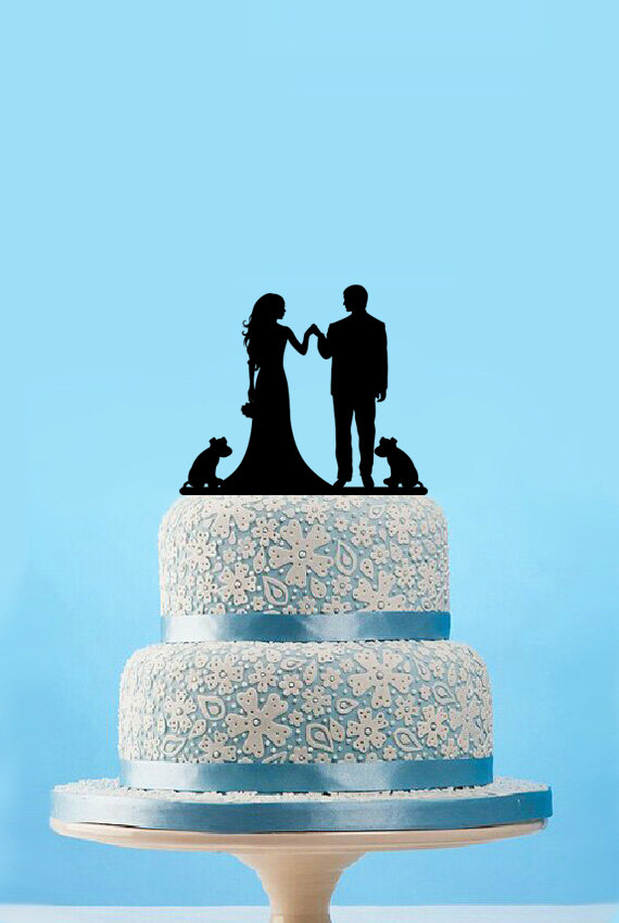 Fashion Bride & Groom Cake Topper and Dog,Engagement Cake Topper,Rustic Wedding Cake Topper Wedding Deco Gift(China (Mainland))