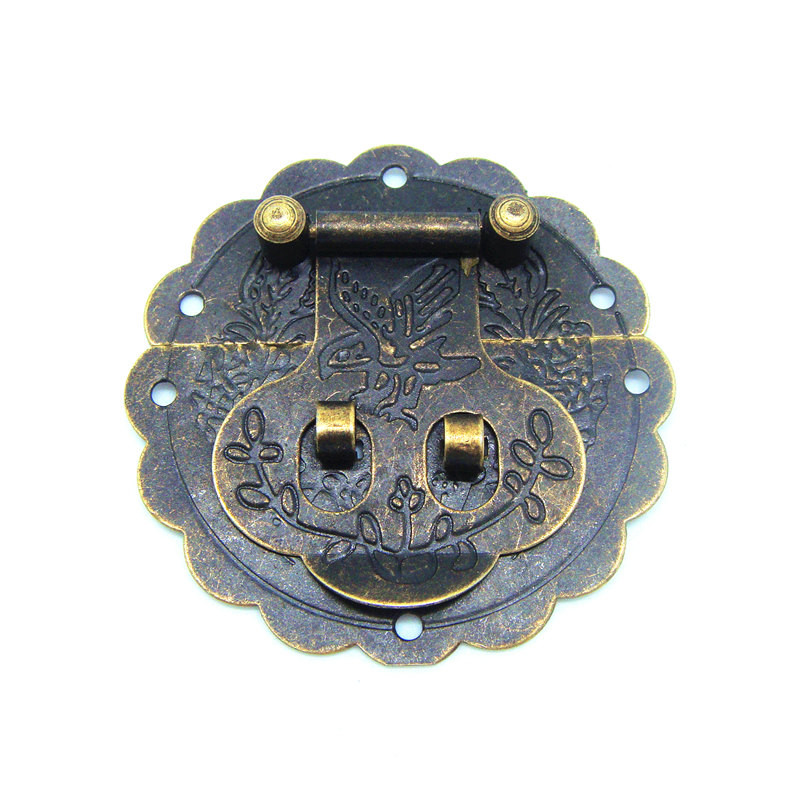 20pcs 60mm Antique small hasp lock buckle with retro tin trunk lock hasp 6CM small dark bird buckle jewelry box latches(China (Mainland))
