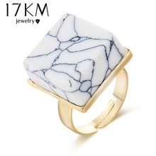 Buy 17KM New Square Stone Ring Punk Vintage Round Big Stone Rings Fashion Women 2017 Finger Ring Jewelry Accessories for $1.24 in AliExpress store